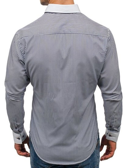 Koszula męska elegancka w paski z długim rękawem granatowo-biała Bolf 2790