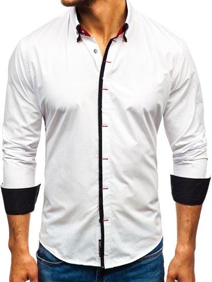 Koszula męska elegancka z długim rękawem biała Bolf 2767