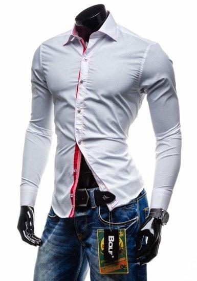 Koszula męska elegancka z długim rękawem biała Bolf 3760