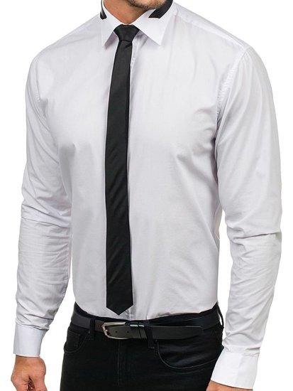 Koszula męska elegancka z długim rękawem biała Bolf 4714-1