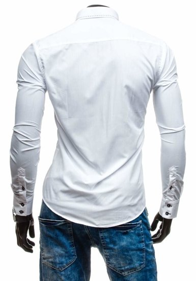 Koszula męska elegancka z długim rękawem biała Bolf 5814