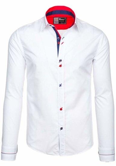 Koszula męska elegancka z długim rękawem biała Bolf 5826