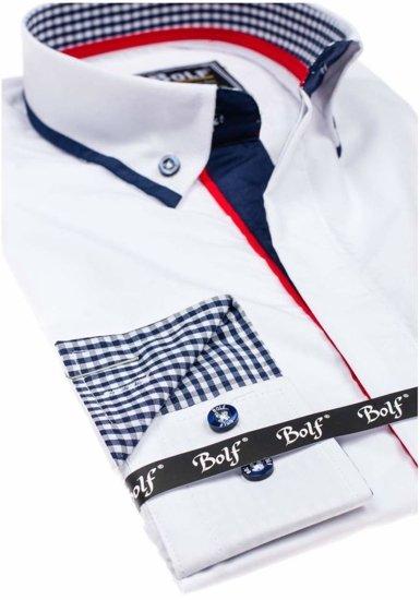 Koszula męska elegancka z długim rękawem biała Bolf 6857