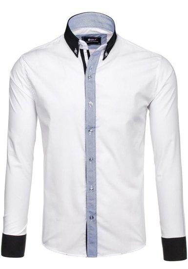 Koszula męska elegancka z długim rękawem biała Bolf 6946