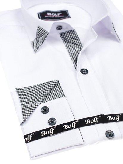 Koszula męska elegancka z długim rękawem biała Bolf 6952