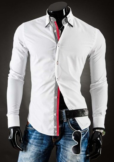 Koszula męska elegancka z długim rękawem biała Denley 1747