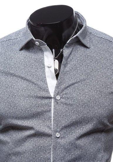 Koszula męska elegancka z długim rękawem biała Denley 7182