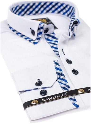 Koszula męska elegancka z długim rękawem biała Denley 776