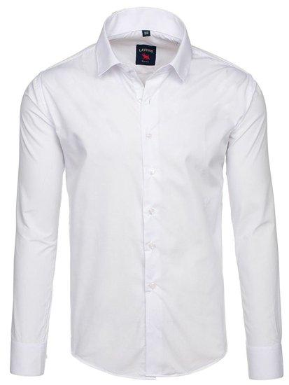 Koszula męska elegancka z długim rękawem biała Denley TS100