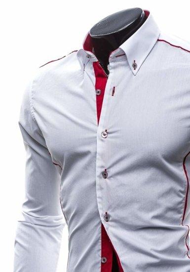 Koszula męska elegancka z długim rękawem biało-czerwona Bolf 5722