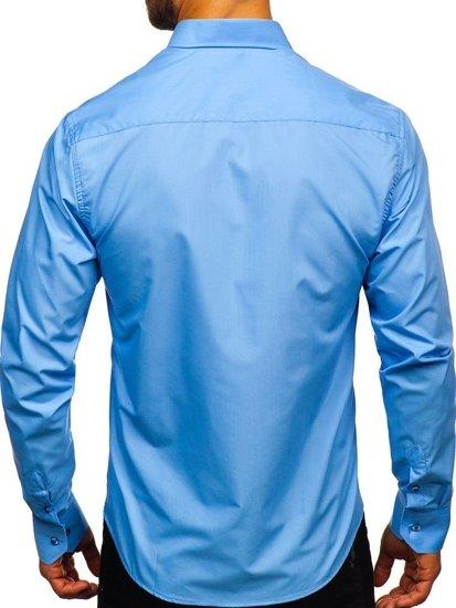 Koszula męska elegancka z długim rękawem błękitna Bolf 5821