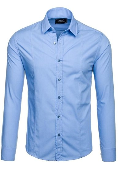 Koszula męska elegancka z długim rękawem błękitna Bolf 6944