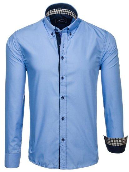 Koszula męska elegancka z długim rękawem błękitna Bolf 8840