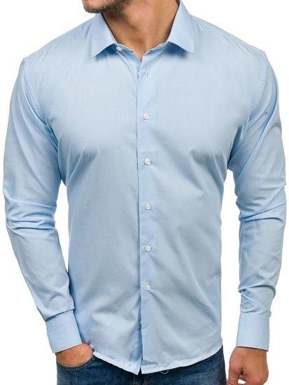 Koszula męska elegancka z długim rękawem błękitna Denley TS100