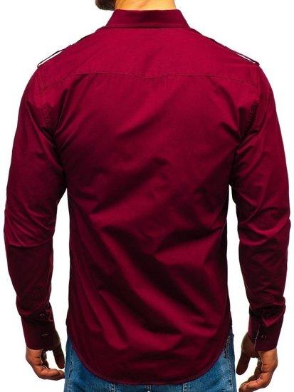 Koszula męska elegancka z długim rękawem bordowa Bolf 1758