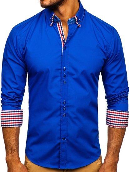 Koszula męska elegancka z długim rękawem chabrowa Bolf 0926