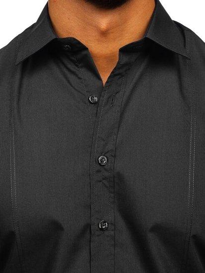 Koszula męska elegancka z długim rękawem czarna Bolf 4705G