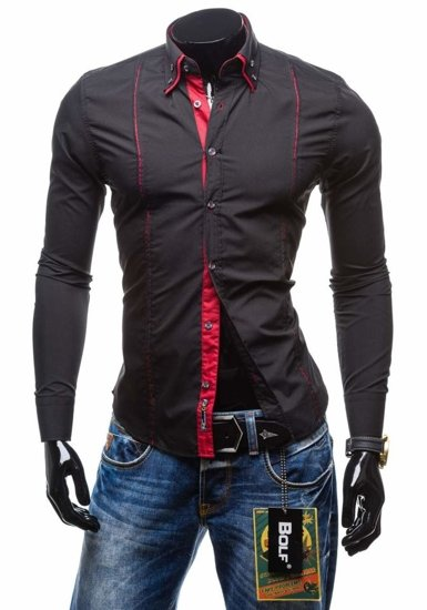 Koszula męska elegancka z długim rękawem czarna Bolf 4744