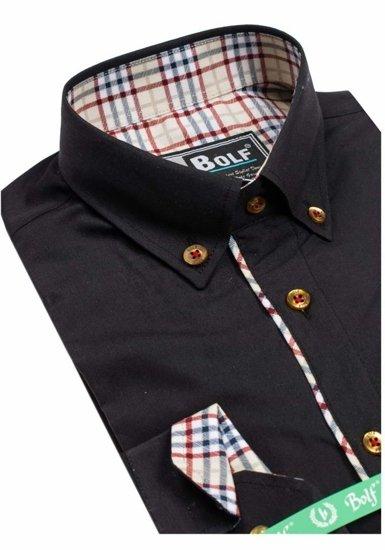 Koszula męska elegancka z długim rękawem czarna Bolf 5793