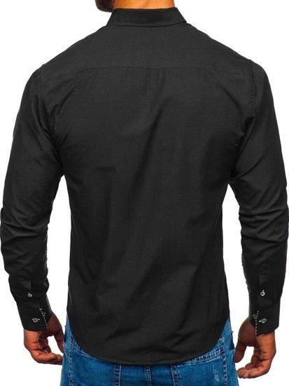 Koszula męska elegancka z długim rękawem czarna Bolf 5796-1