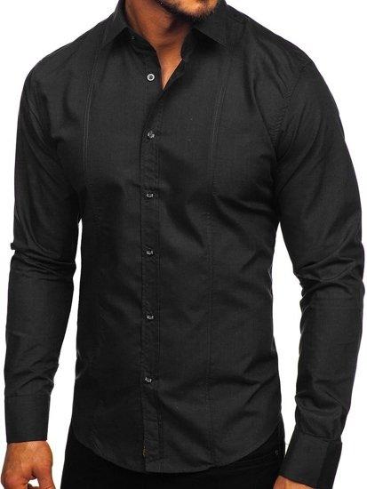 Koszula męska elegancka z długim rękawem czarna Bolf 6944