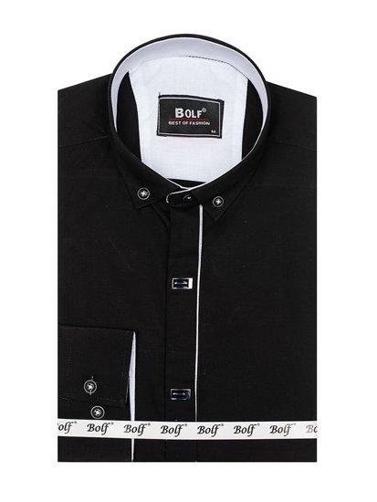 Koszula męska elegancka z długim rękawem czarna Bolf 7711