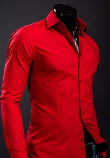 Koszula męska elegancka z długim rękawem czerwona Bolf 1703A