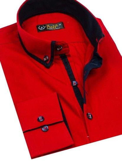 Koszula męska elegancka z długim rękawem czerwona Bolf 8824