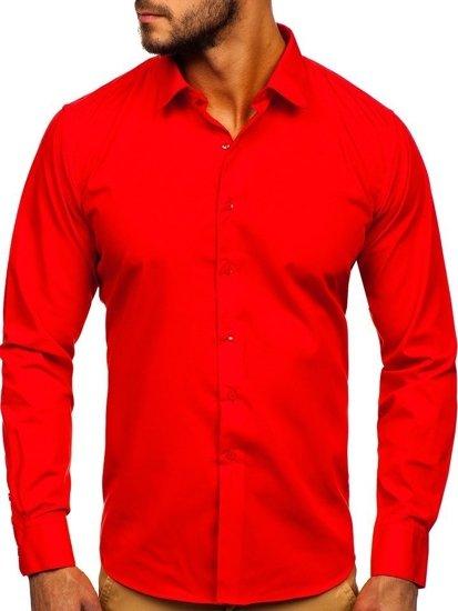 Koszula męska elegancka z długim rękawem czerwona Denley 0001