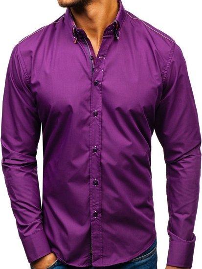 Koszula męska elegancka z długim rękawem fioletowa Bolf 2705