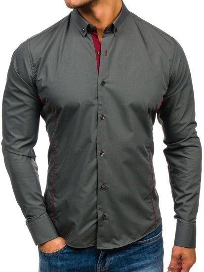 Koszula męska elegancka z długim rękawem grafitowa Bolf 5722-1