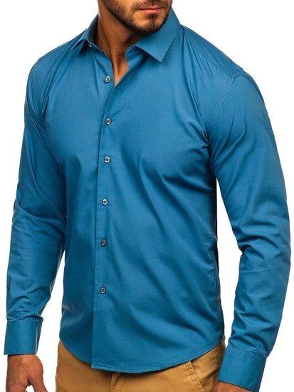 Koszula męska elegancka z długim rękawem grafitowa Denley 0001