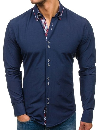 Koszula męska elegancka z długim rękawem granatowa Bolf 4704