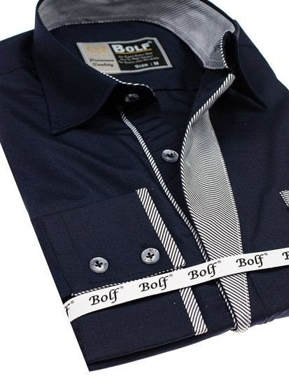 Koszula męska elegancka z długim rękawem granatowa Bolf 4713