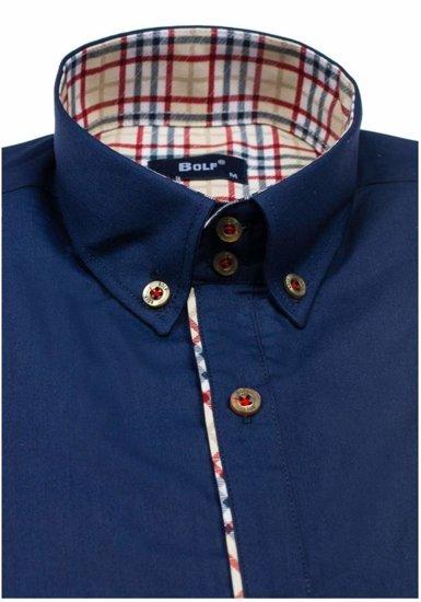 Koszula męska elegancka z długim rękawem granatowa Bolf 5747-1