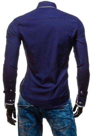Koszula męska elegancka z długim rękawem granatowa Bolf 5805