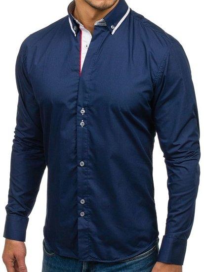 Koszula męska elegancka z długim rękawem granatowa Bolf 6857