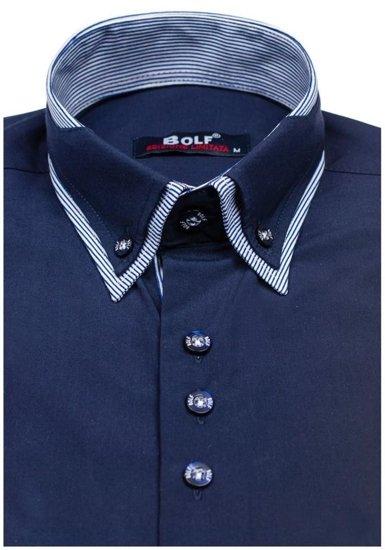 Koszula męska elegancka z długim rękawem granatowa Bolf 6929