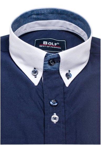 Koszula męska elegancka z długim rękawem granatowa Bolf 6945