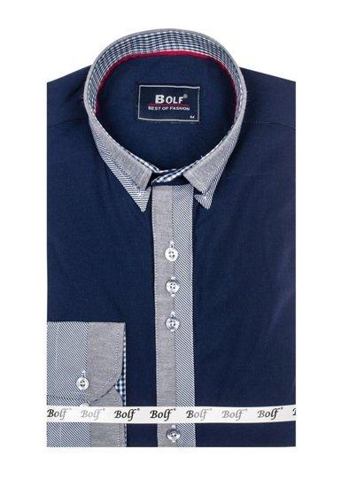 Koszula męska elegancka z długim rękawem granatowa Bolf 6950