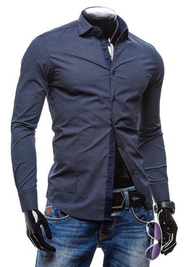 Koszula męska elegancka z długim rękawem granatowa Denley 7182