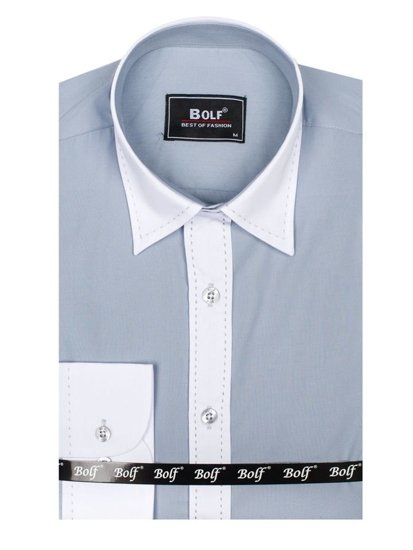 Koszula męska elegancka z długim rękawem jasnoszara Bolf 6882