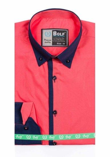 Koszula męska elegancka z długim rękawem koralowa Bolf 5798