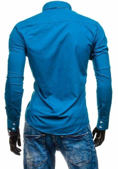 Koszula męska elegancka z długim rękawem morska Bolf 1721-1