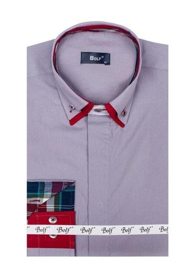 Koszula męska elegancka z długim rękawem szara Bolf 6895