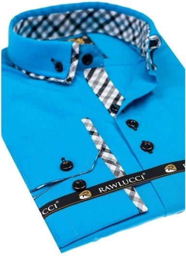 Koszula męska elegancka z długim rękawem turkusowa Denley 776