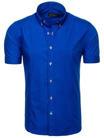 Koszula męska elegancka z krótkim rękawem chabrowa Bolf 5535