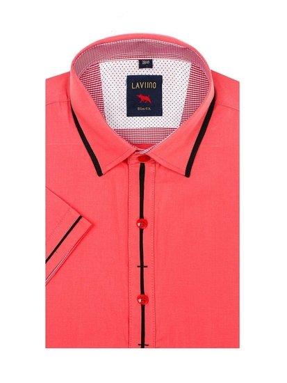 Koszula męska elegancka z krótkim rękawem koralowa Denley 027