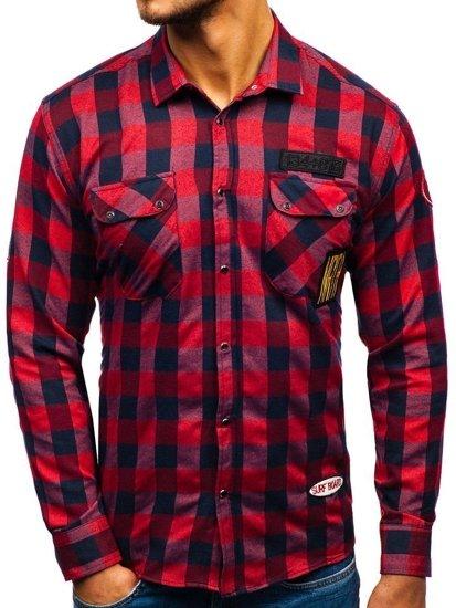 Koszula męska flanelowa z długim rękawem czerwona Denley 2503