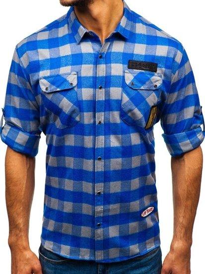 Koszula męska flanelowa z długim rękawem niebiesko-szara Denley 2503